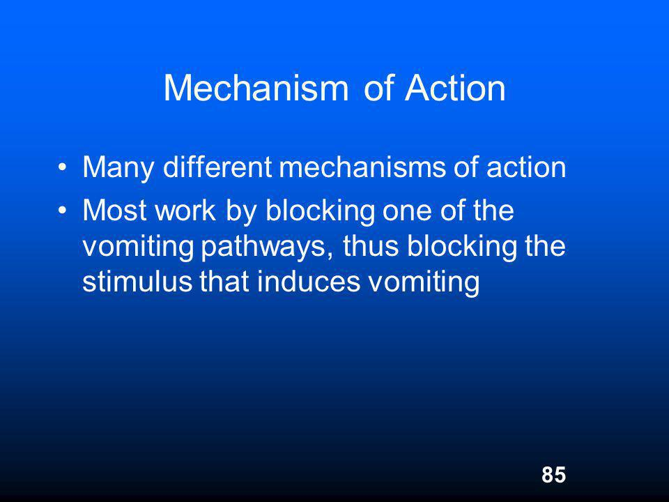 85 Mechanism of Action Many different mechanisms of action Most work by blocking one of the vomiting pathways, thus blocking the stimulus that induces