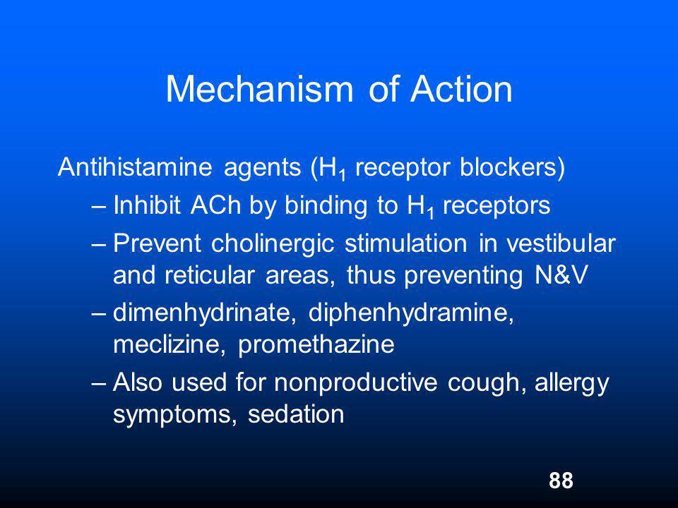 88 Mechanism of Action Antihistamine agents (H 1 receptor blockers) –Inhibit ACh by binding to H 1 receptors –Prevent cholinergic stimulation in vesti