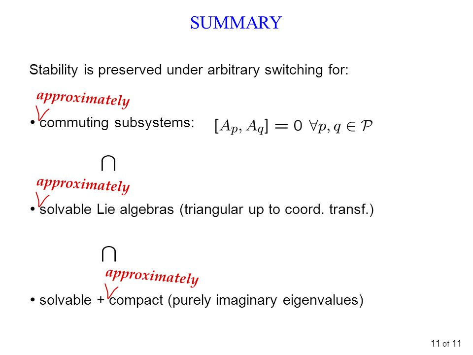 SUMMARY Stability is preserved under arbitrary switching for: commuting subsystems: solvable Lie algebras (triangular up to coord.