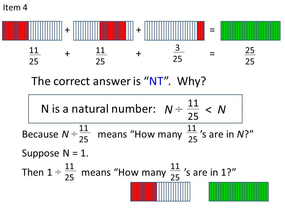 "N is a natural number: Item 4 11 25 N ÷ < N The correct answer is ""NT"". Why? Because N ÷ means ""How many 's are in N?"" 11 25 11 25 Suppose N = 1. Then"