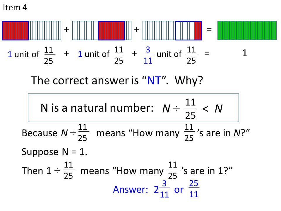 "N is a natural number: Item 4 11 25 N ÷ < N The correct answer is ""NT"". Why? Because N ÷ means ""How many 's are in N?"" 11 25 11 25 Suppose N = 1. ++="