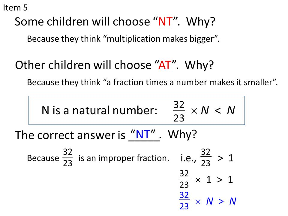 "N is a natural number: Some children will choose ""NT"". Why? Because they think ""multiplication makes bigger"". Item 5  N < N 32 23 Other children will"