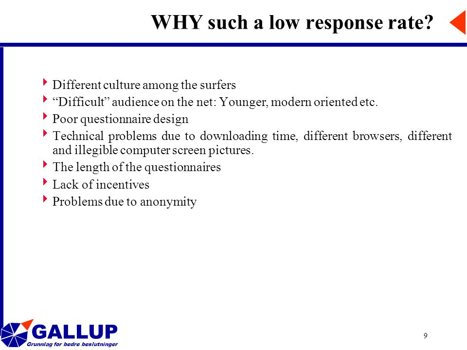 GALLUP Grunnlag for bedre beslutninger 9 WHY such a low response rate.