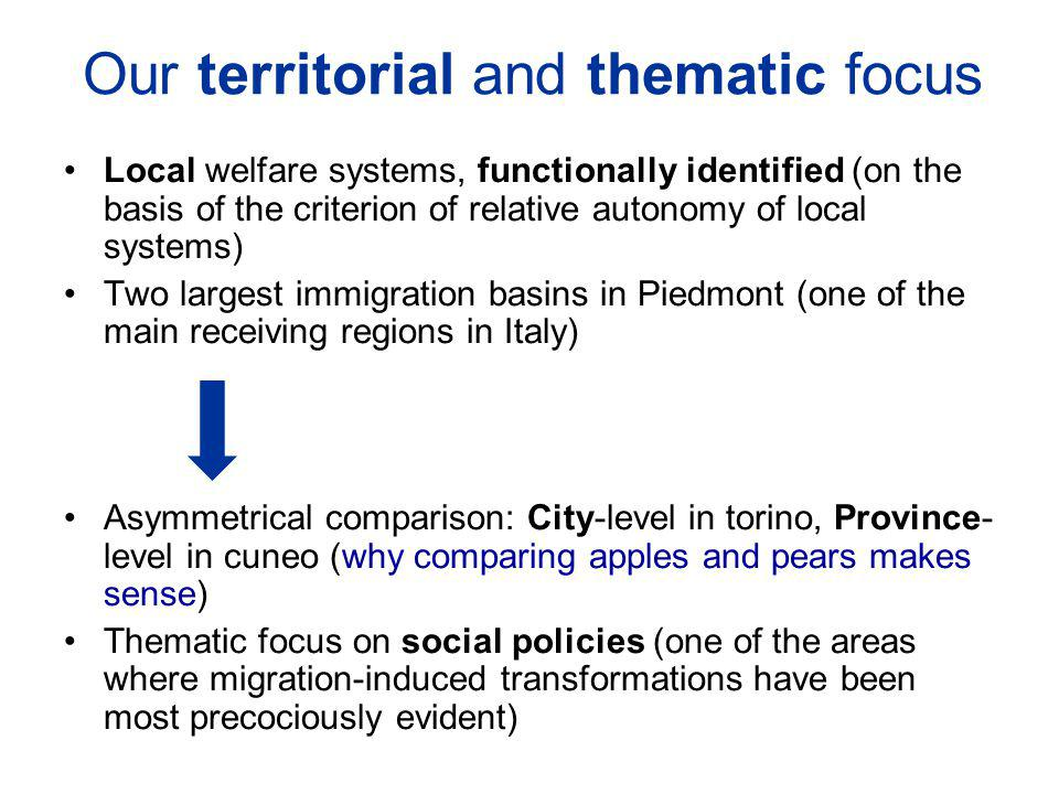 Our territorial and thematic focus Local welfare systems, functionally identified (on the basis of the criterion of relative autonomy of local systems) Two largest immigration basins in Piedmont (one of the main receiving regions in Italy) Asymmetrical comparison: City-level in torino, Province- level in cuneo (why comparing apples and pears makes sense) Thematic focus on social policies (one of the areas where migration-induced transformations have been most precociously evident)