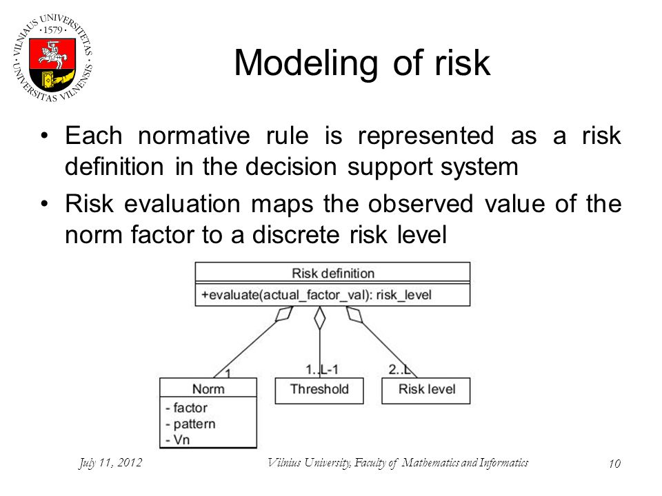 10 Modeling of risk Each normative rule is represented as a risk definition in the decision support system Risk evaluation maps the observed value of the norm factor to a discrete risk level July 11, 2012Vilnius University, Faculty of Mathematics and Informatics