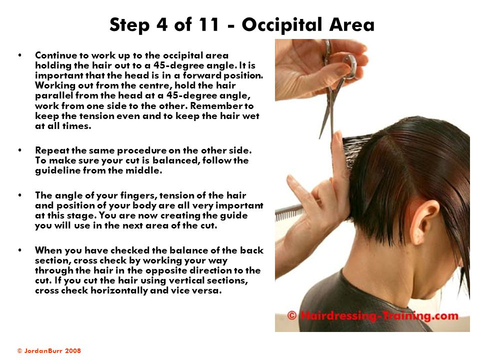 © JordanBurr 2008 Step 4 of 11 - Occipital Area Continue to work up to the occipital area holding the hair out to a 45-degree angle.