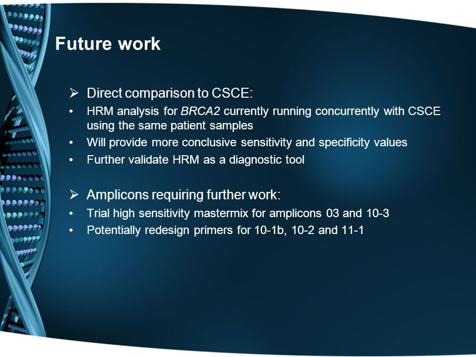 Future work  Direct comparison to CSCE: HRM analysis for BRCA2 currently running concurrently with CSCE using the same patient samples Will provide m