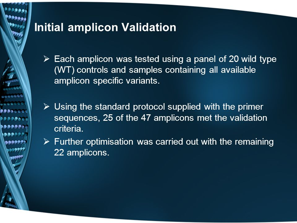 Initial amplicon Validation  Each amplicon was tested using a panel of 20 wild type (WT) controls and samples containing all available amplicon specific variants.