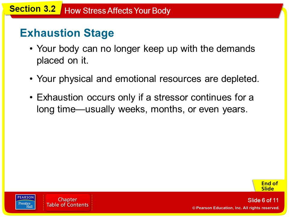 Section 3.2 How Stress Affects Your Body Slide 6 of 11 Your body can no longer keep up with the demands placed on it.
