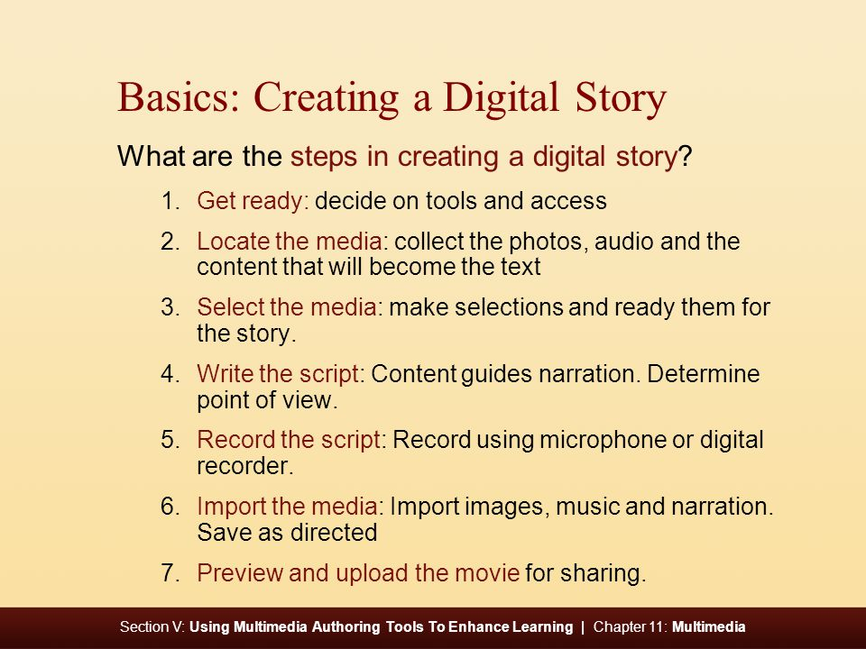 Section V: Using Multimedia Authoring Tools To Enhance Learning | Chapter 11: Multimedia Basics: Creating a Digital Story What are the steps in creating a digital story.