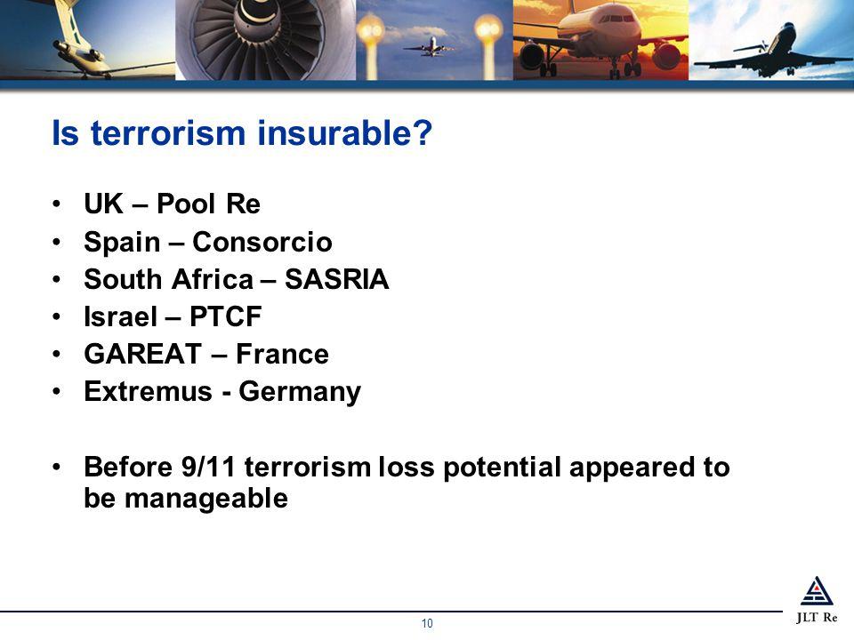 10 Is terrorism insurable.
