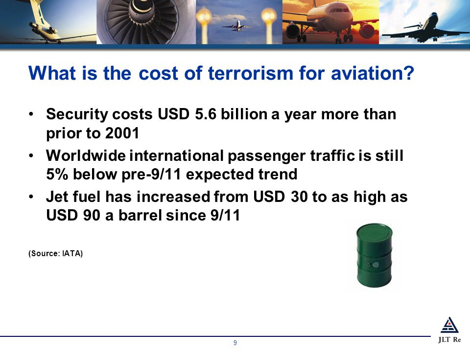 9 What is the cost of terrorism for aviation.