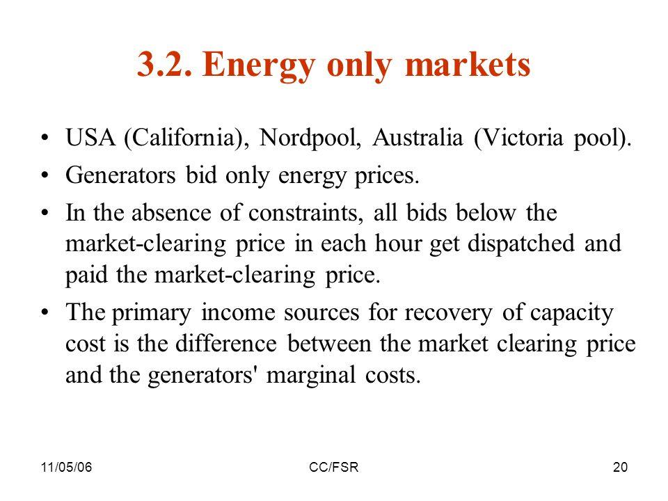 11/05/06CC/FSR20 3.2. Energy only markets USA (California), Nordpool, Australia (Victoria pool).