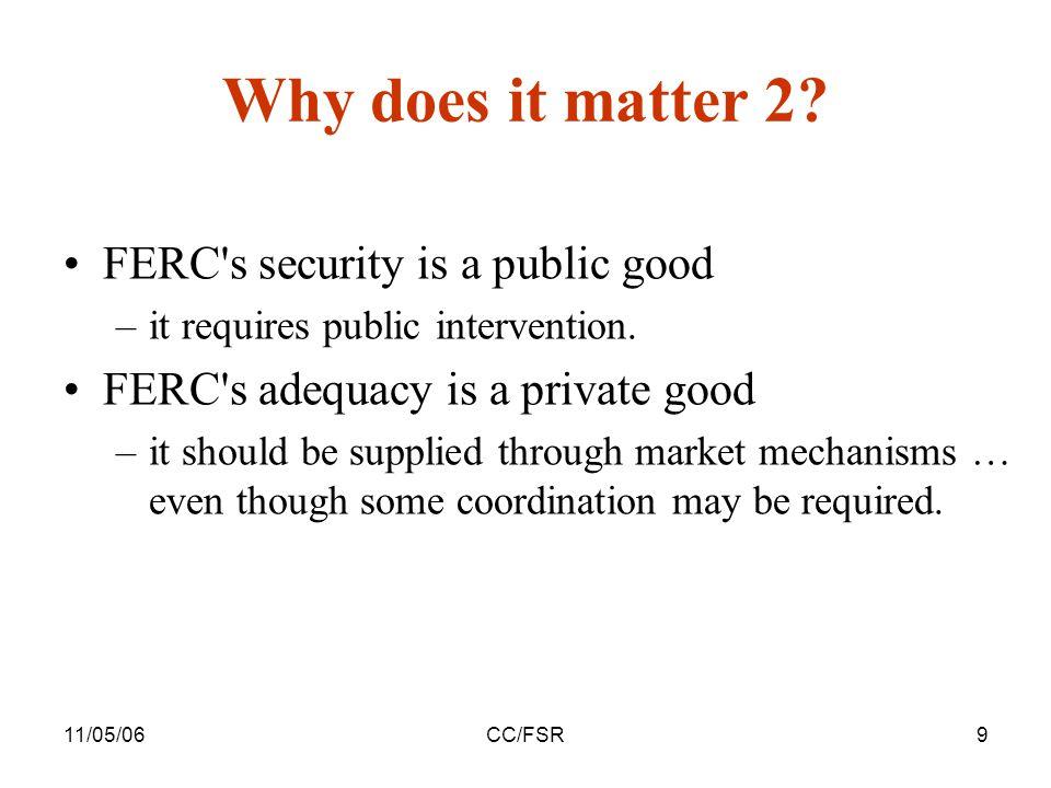 11/05/06CC/FSR9 FERC s security is a public good –it requires public intervention.