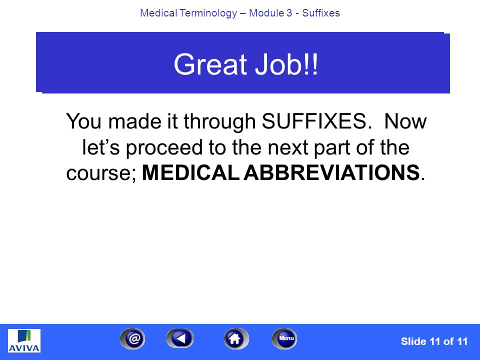 Menu Medical Terminology – Module 3 - Suffixes Slide 11 of 11 Great Job!.