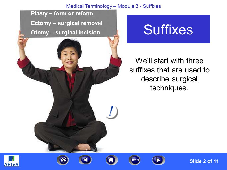 Menu Medical Terminology – Module 3 - Suffixes Suffixes We'll start with three suffixes that are used to describe surgical techniques.