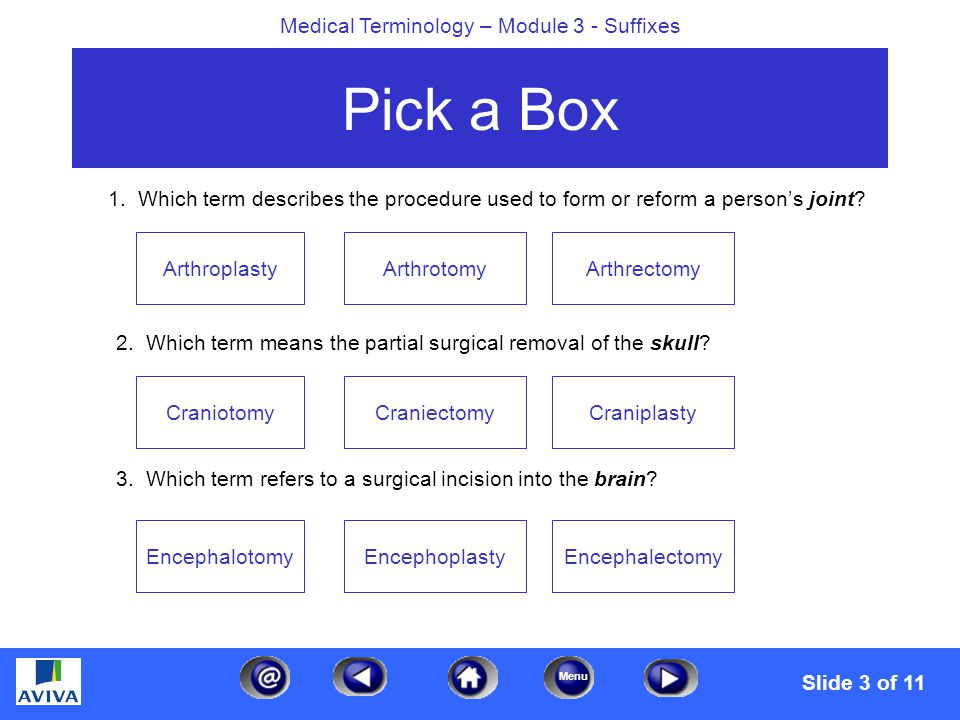 Menu Medical Terminology – Module 3 - Suffixes Pick a Box 1. Which term describes the procedure used to form or reform a person's joint? 2. Which term