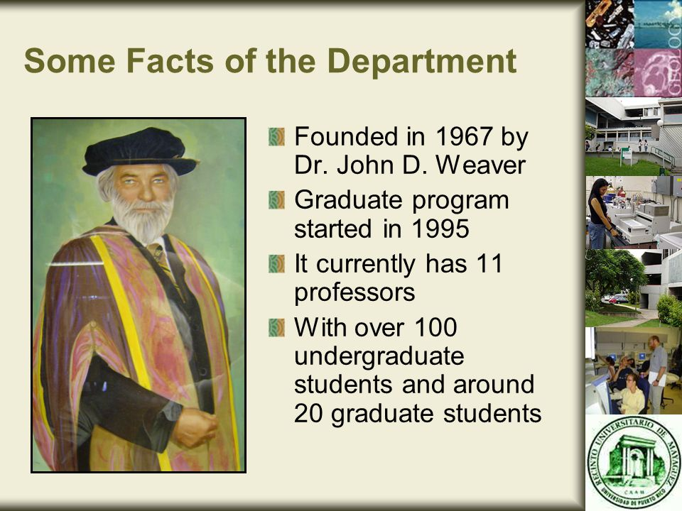 Some Facts of the Department Founded in 1967 by Dr.