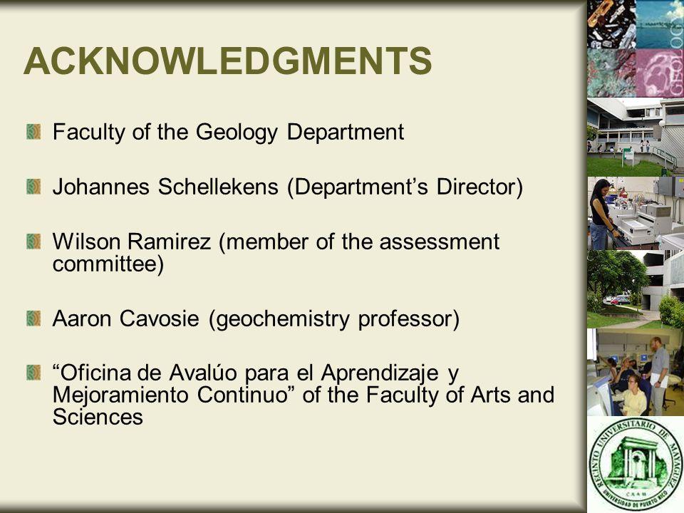 ACKNOWLEDGMENTS Faculty of the Geology Department Johannes Schellekens (Department's Director) Wilson Ramirez (member of the assessment committee) Aar