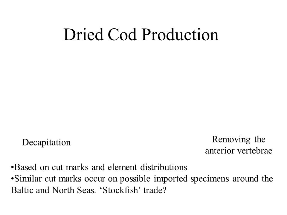 Dried Cod Production Decapitation Removing the anterior vertebrae Based on cut marks and element distributions Similar cut marks occur on possible imported specimens around the Baltic and North Seas.