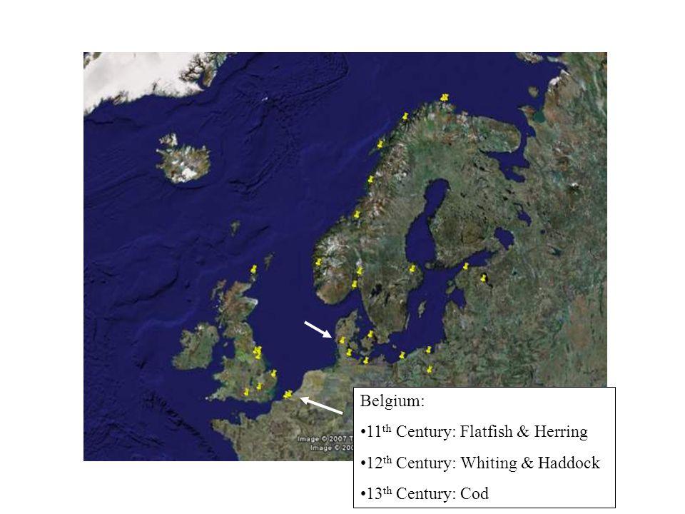 Belgium: 11 th Century: Flatfish & Herring 12 th Century: Whiting & Haddock 13 th Century: Cod