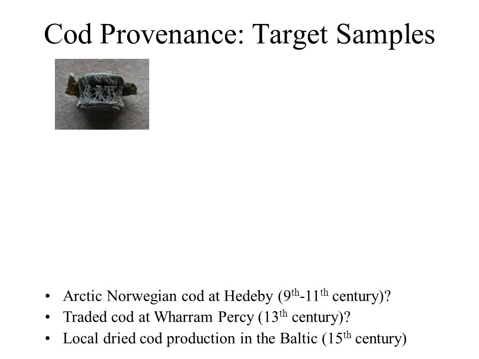 Cod Provenance: Target Samples Arctic Norwegian cod at Hedeby (9 th -11 th century)? Traded cod at Wharram Percy (13 th century)? Local dried cod prod