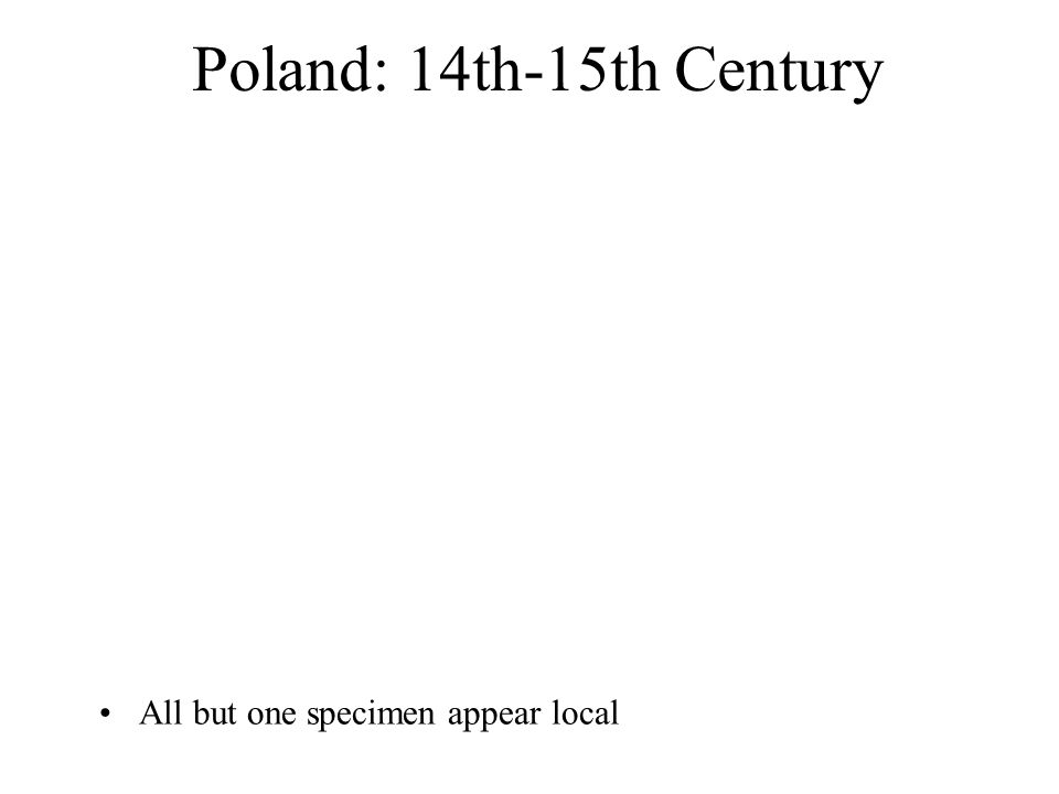 All but one specimen appear local Poland: 14th-15th Century