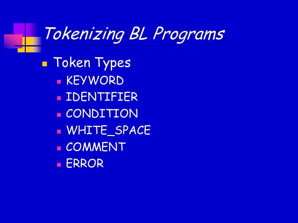 Tokenizing BL Programs Token Types KEYWORD IDENTIFIER CONDITION WHITE_SPACE COMMENT ERROR