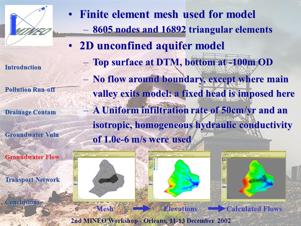 2nd MINEO Workshop - Orléans, 11-13 December 2002 Finite element mesh used for modelFinite element mesh used for model –8605 nodes and 16892 triangular elements 2D unconfined aquifer model2D unconfined aquifer model –Top surface at DTM, bottom at -100m OD –No flow around boundary, except where main valley exits model: a fixed head is imposed here –A Uniform infiltration rate of 50cm/yr and an isotropic, homogeneous hydraulic conductivity of 1.0e-6 m/s were used Introduction Pollution Run-off Drainage Contam Groundwater Vuln Groundwater Flow Transport Network Conclusions MeshElevationsCalculated Flows