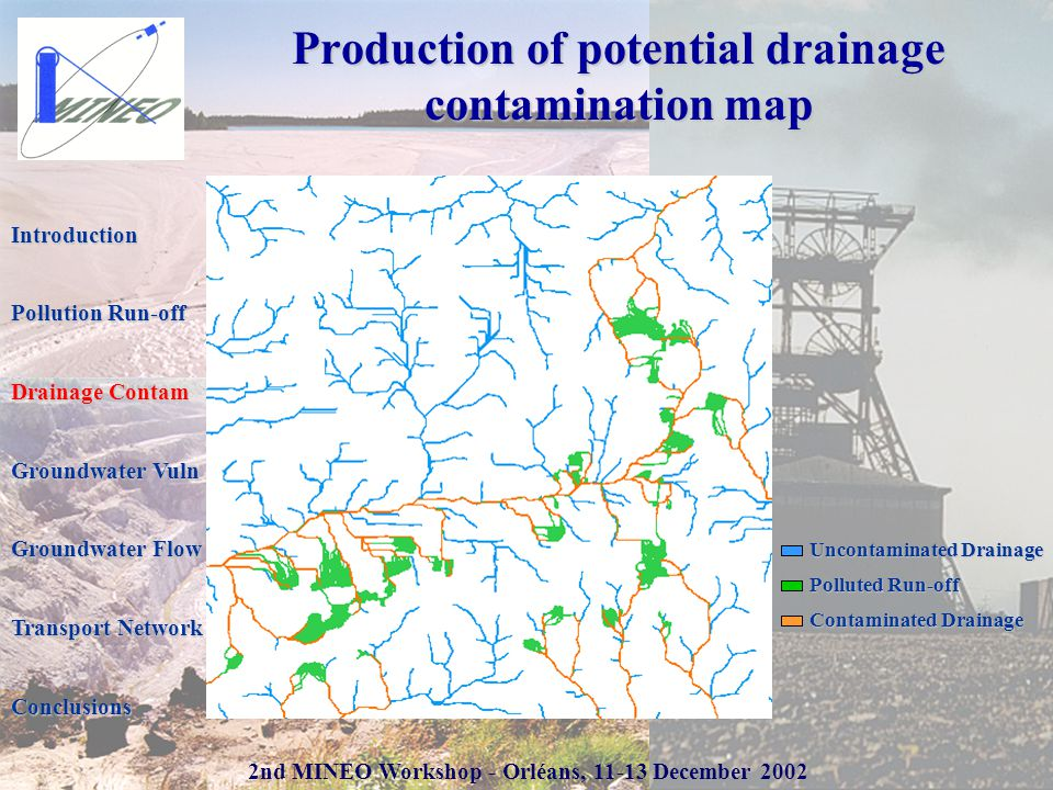 2nd MINEO Workshop - Orléans, 11-13 December 2002 Production of potential drainage contamination map Uncontaminated Drainage Polluted Run-off Contaminated Drainage Introduction Pollution Run-off Drainage Contam Groundwater Vuln Groundwater Flow Transport Network Conclusions