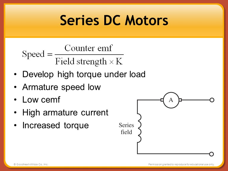© Goodheart-Willcox Co., Inc.Permission granted to reproduce for educational use only. Series DC Motors Develop high torque under load Armature speed