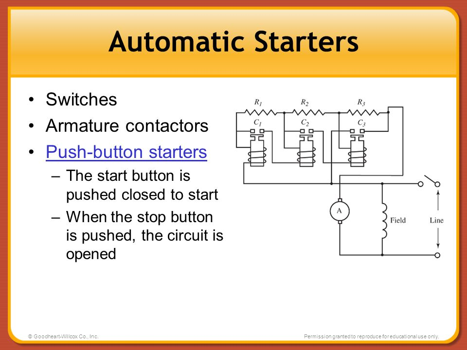 © Goodheart-Willcox Co., Inc.Permission granted to reproduce for educational use only. Automatic Starters Switches Armature contactors Push-button sta