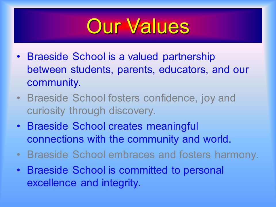 Our Values Braeside School is a valued partnership between students, parents, educators, and our community. Braeside School fosters confidence, joy an