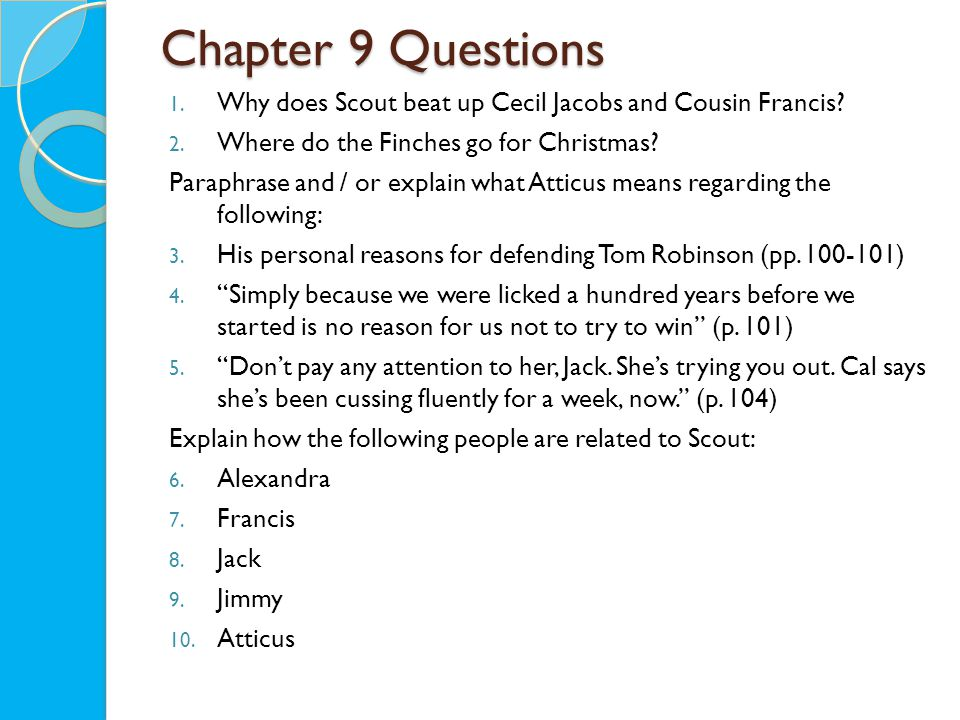 Chapter 9 Questions 1. Why does Scout beat up Cecil Jacobs and Cousin Francis.