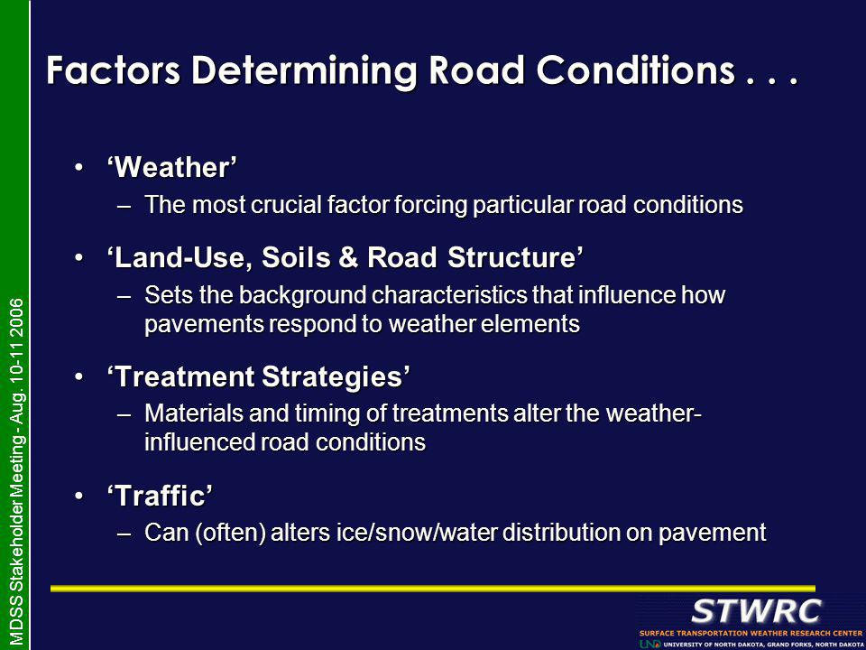 MDSS Stakeholder Meeting - Aug. 10-11 2006 Factors Determining Road Conditions...