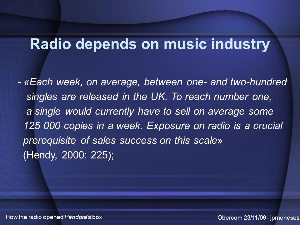 Radio and its dependency Obercom 23/11/09 - jpmeneses How the radio opened Pandora's box - «Playlists» (narrow); - «Airplay» (fight for); - «Payola» (money, money...);