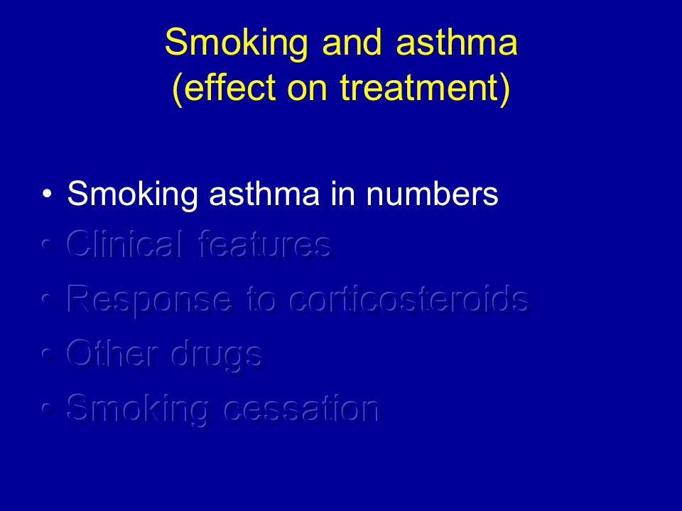 Smoking asthma in numbers Prevalence rates similar to general population 20 – 30% of asthma patients are active smokers 20 – 30% of asthma patients are former smokers 1/2 of asthma patients are active or former smokers Demoly P et al Eur Respir Rev 2009 Siroux V et al Eur Respir J 2000 Yun S et al Prev Med 2006