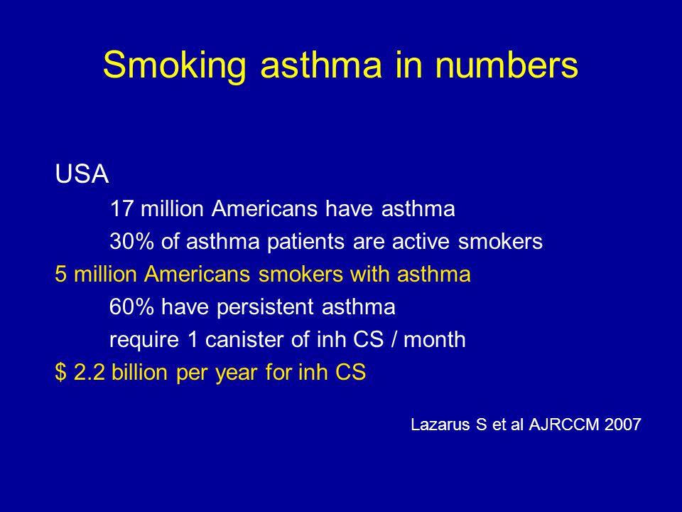 Smoking cessation Chaudhuri R et al AJRCCM 2006;174:127-133 1.Improvement in lung function ( ↑ FEV1 407 ml after 6wks) 2.Improvement in Asthma Control Score