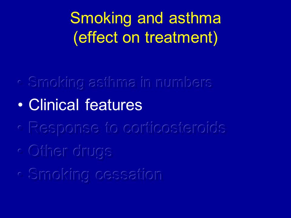 Inhaled corticosteroids Randomized controlled study (SMOG Trial) Mild to moderate asthma 44 non-smokers 39 smokers (7 pys) Inh HFA-beclomethasone 320 μg/day tb montelukast 10mg/day 8 weeks Lazarus S et al AJRCCM 2007;175:783-790