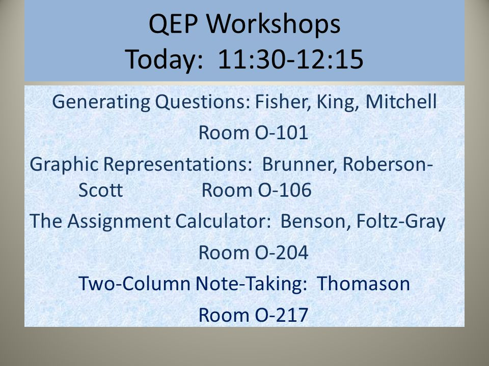 QEP Workshops Today: 11:30-12:15 Generating Questions: Fisher, King, Mitchell Room O-101 Graphic Representations: Brunner, Roberson- Scott Room O-106 The Assignment Calculator: Benson, Foltz-Gray Room O-204 Two-Column Note-Taking: Thomason Room O-217