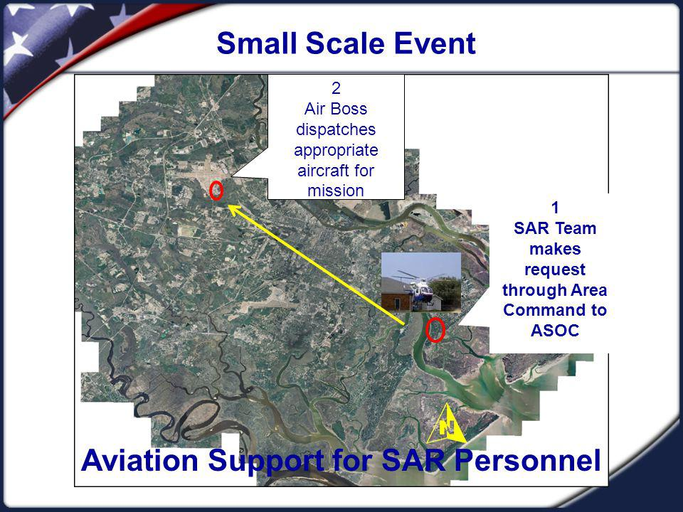 Small Scale Event 1 SAR Team makes request through Area Command to ASOC 2 Air Boss dispatches appropriate aircraft for mission Aviation Support for SAR Personnel