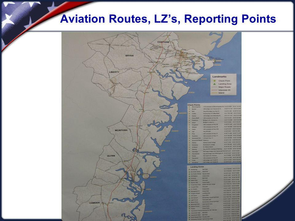 Aviation Routes, LZ's, Reporting Points