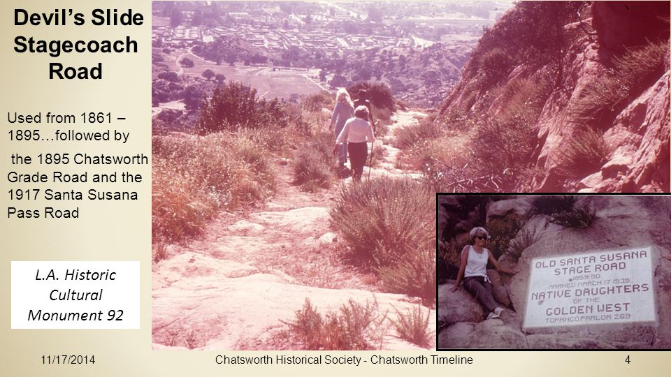 11/17/2014Chatsworth Historical Society - Chatsworth Timeline4 Devil's Slide Stagecoach Road L.A.
