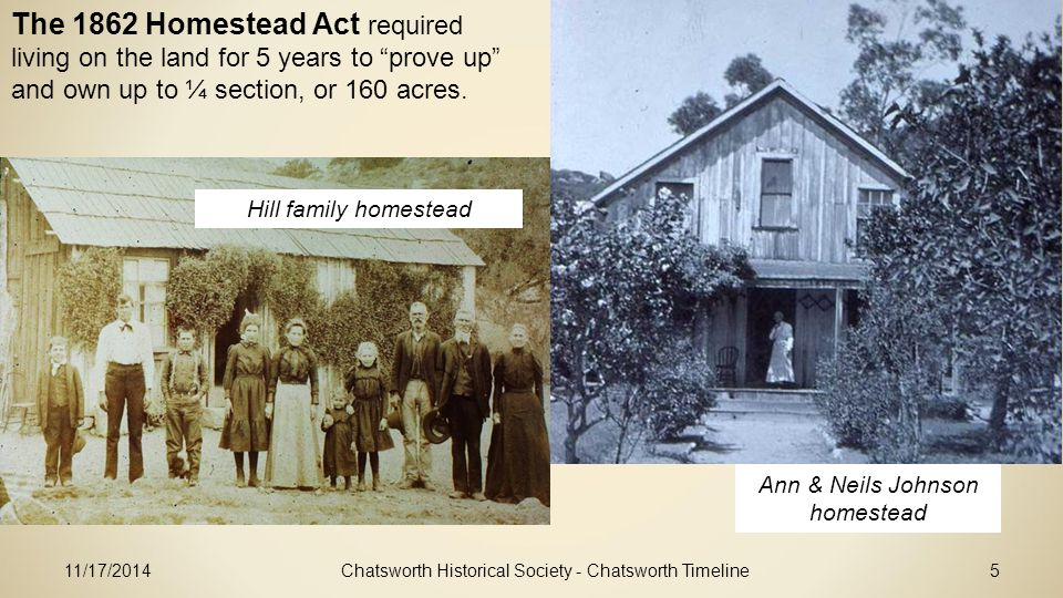 11/17/2014Chatsworth Historical Society - Chatsworth Timeline5 Hill family homestead Ann & Neils Johnson homestead The 1862 Homestead Act required living on the land for 5 years to prove up and own up to ¼ section, or 160 acres.