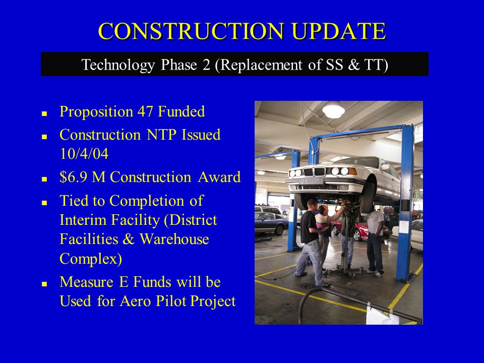 CONSTRUCTION UPDATE Measure E Funded Construction NTP Issued 10/7/04 $8.2M Construction Award (includes Tech 2 Interim Facility Build-out) Completion Date Critical for Tech Phase 2 Will be Converted to District Facilities & Warehouse Project Saves the District Over $1.5M+ Interim Facility – Veteran's Stadium (Tech 2 Interim)