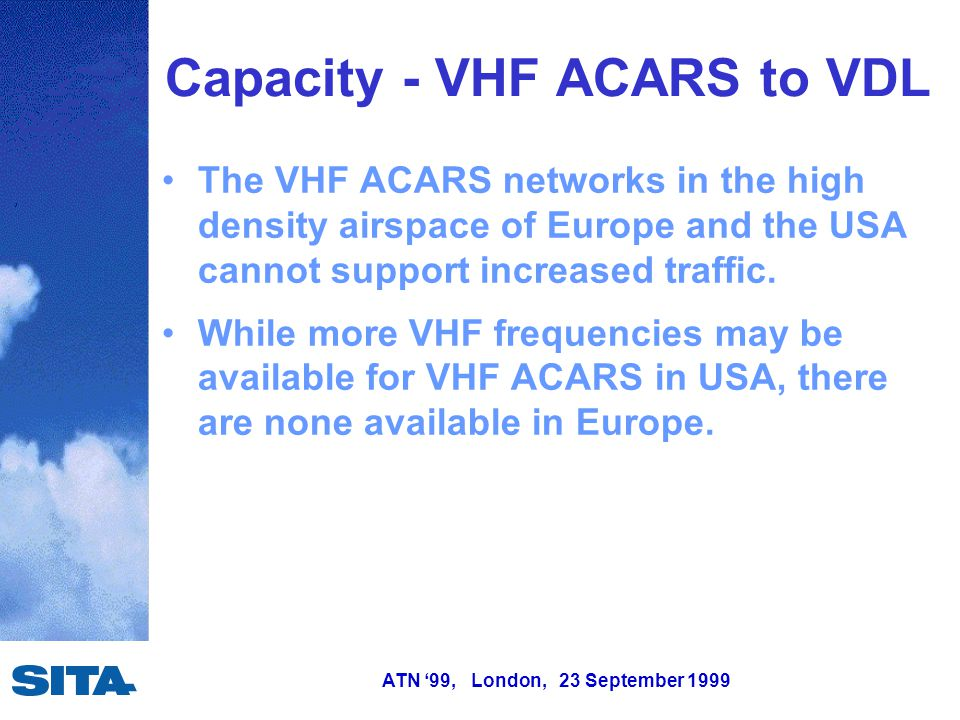 ATN '99, London, 23 September 1999 Capacity - VHF ACARS to VDL The VHF ACARS networks in the high density airspace of Europe and the USA cannot suppor