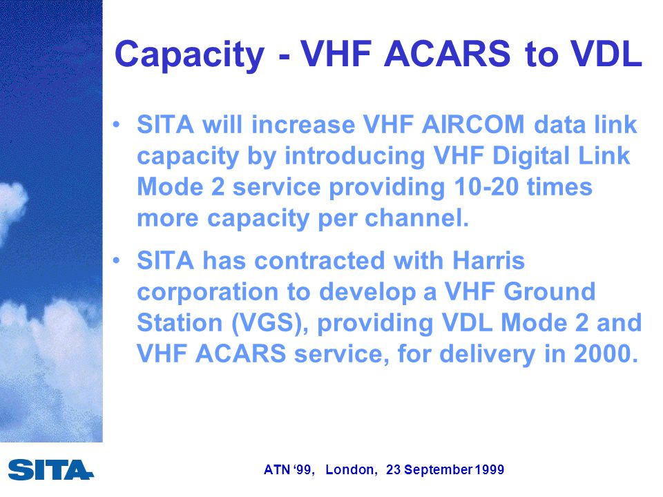 ATN '99, London, 23 September 1999 SITA will increase VHF AIRCOM data link capacity by introducing VHF Digital Link Mode 2 service providing 10-20 times more capacity per channel.