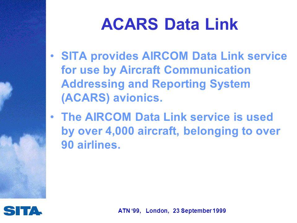 ATN '99, London, 23 September 1999 SITA will increase VHF AIRCOM data link capacity by introducing VHF Digital Link Mode 2 service providing 10-20 times more capacity per channel.