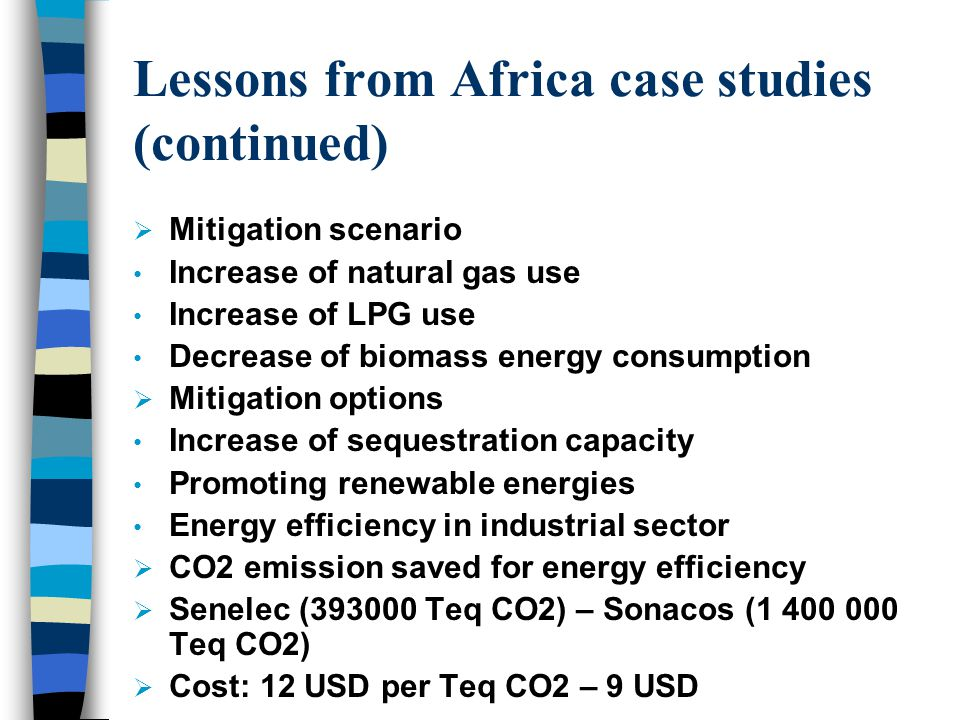 Lessons from Africa case studies (continued)  Mitigation scenario Increase of natural gas use Increase of LPG use Decrease of biomass energy consumption  Mitigation options Increase of sequestration capacity Promoting renewable energies Energy efficiency in industrial sector  CO2 emission saved for energy efficiency  Senelec (393000 Teq CO2) – Sonacos (1 400 000 Teq CO2)  Cost: 12 USD per Teq CO2 – 9 USD
