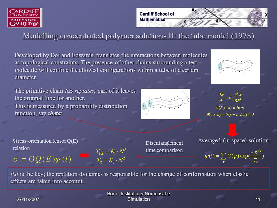 1127/11/2007 Bonn, Institut fuer Numerische Simulation Modelling concentrated polymer solutions II: the tube model (1978) Developed by Doi and Edwards, translates the interactions between molecules as topological constraints.